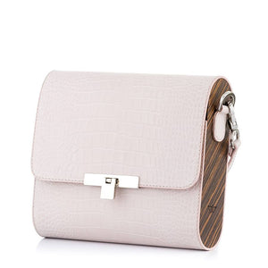Beige Crocodile Embossed Leather Bag Gloria - MY-SOUT
