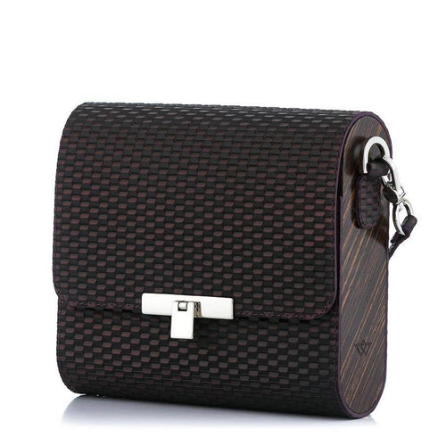 Woven Pattern Purple Leather Bag Gloria - MY-SOUT