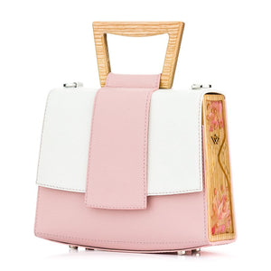 Rose and White Saffiano Leather Bag Sandy - MY-SOUT