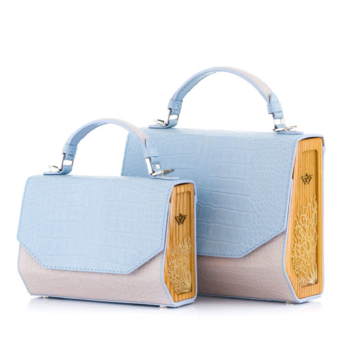Blue and Beige Croc-Embossed Leather Bag Fjord - MY-SOUT