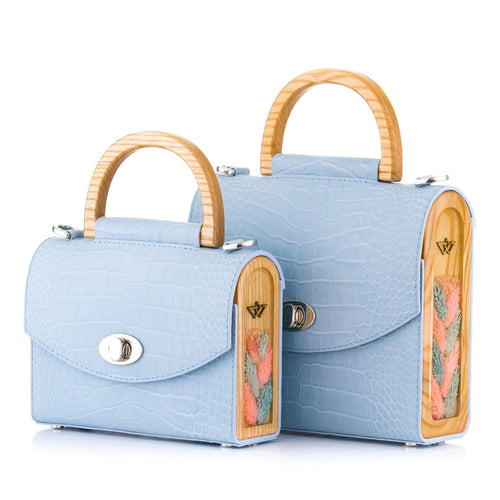 Blue Croc-Embossed Leather Bag Aurora - MY-SOUT