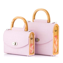 Load image into Gallery viewer, Pink Croc-Embossed Leather Bag Aurora - MY-SOUT