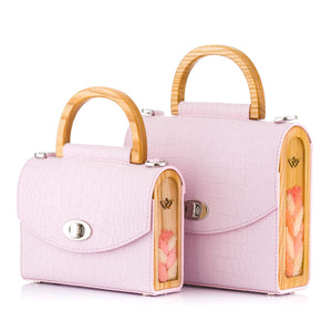 Pink Croc-Embossed Leather Bag Aurora - MY-SOUT