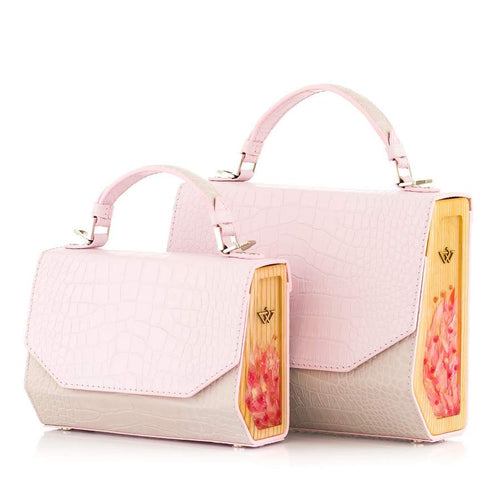 Pink and Beige Croc-Embossed Leather Bag Fjord - MY-SOUT
