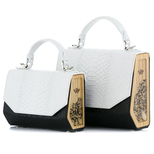 Black & White Python Embossed Leather Bag Fjord - MY-SOUT