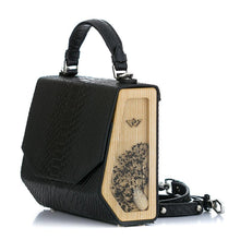 Load image into Gallery viewer, Black Python Embossed Leather Bag Fjord - MY-SOUT