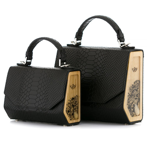 Black Python Embossed Leather Bag Fjord - MY-SOUT