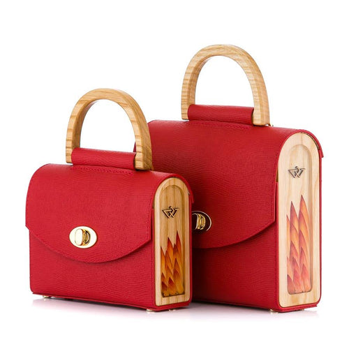 Red Saffiano Leather Bag Aurora - MY-SOUT