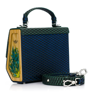 Woven Pattern Green & Blue Leather Bag Fjord - MY-SOUT
