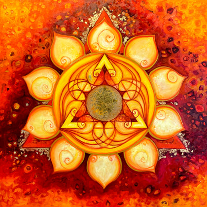Manipura chakra Mandala, the centre of will power and inner fire
