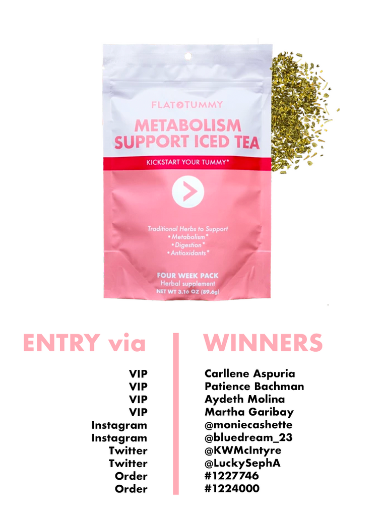 Flat Tummy Iced Tea Winners