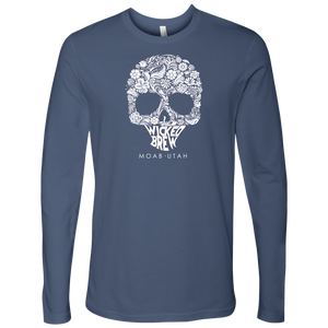 Mens Next Level Wicked Brew Skully Long Sleeve
