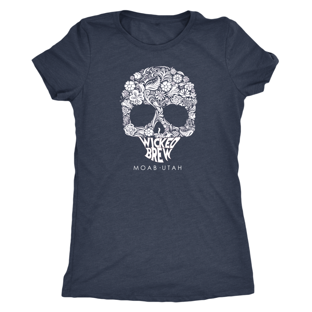 Womens Triblend Next Level Wicked Brew Skully Shirt