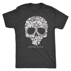 Mens Next Level Triblend Wicked Brew Skully T-Shirt