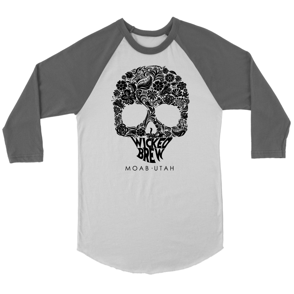 Unisex Canvas Wicked Brew Skully 3/4 Raglan Shirt