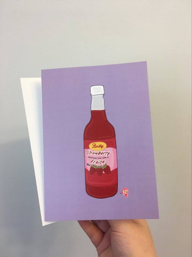 Strawberry Syrup 5x7 Folded Blank Inside Card