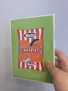 Cheezies 5x7 Folded Blank Inside Card