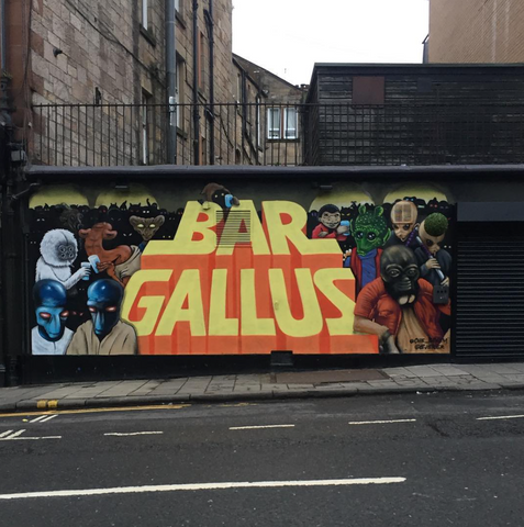 bar,pub,glasgow,cafe,gie it laldy,establishments,glasgow gift shop, bar gallus,mural