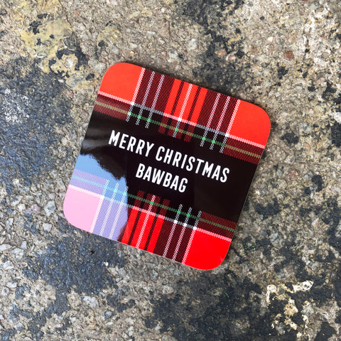 Gie it Laldy, Scottish Gifts, Merry Christmas Bawbag, Tartan Coasters, Glasgow Gifts