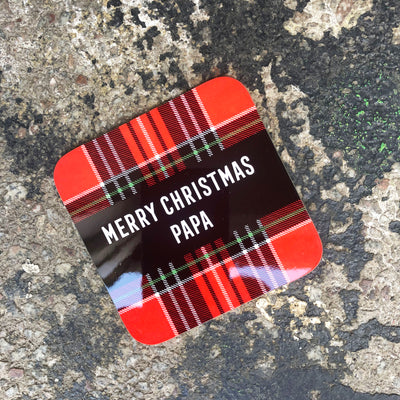 Gie it Laldy, Scottish Gifts, Merry Christmas Papa, Tartan Coasters, Glasgow Gifts