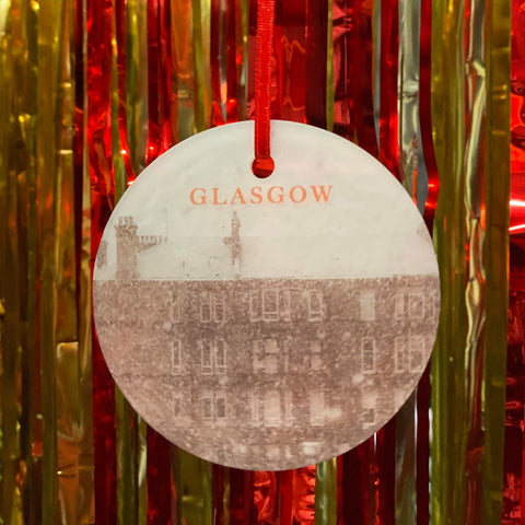 Gie It Laldy 'GLASGOW' Frosted Acrylic Scottish Christmas Decoration