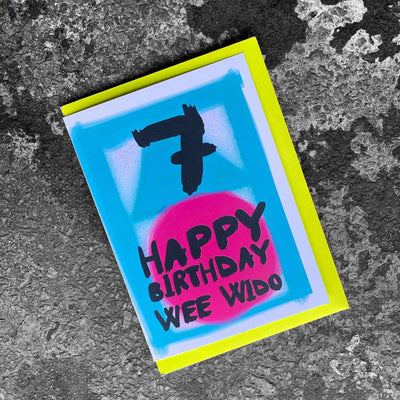 'Happy Birthday 7 Wee Wido' Scottish Card