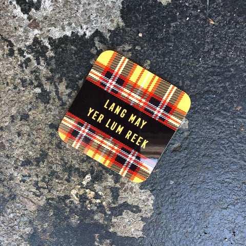 Glasgow Gifts, Scottish Coaster, Gie it Laldy, Lang May Yer Lum Reek, Scottish Gifts, Glasgow Gift Shop