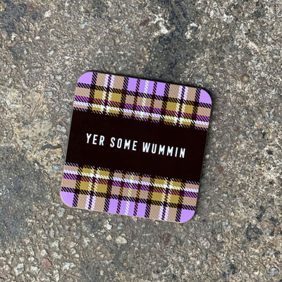 Scottish Tartan Coaster, Scottish Gift, Gie it Laldy