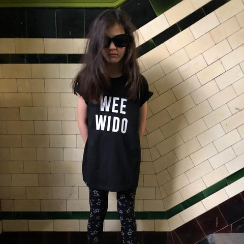 'Wee Wido' Scottish Kids T-shirt Black