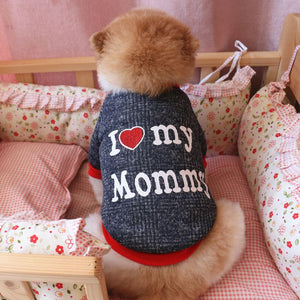 """I love mommy"", ""I love daddy"" plush sweaters"