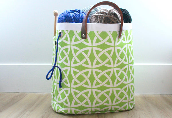 Knitting Tote- Celtic Knots in Neon Lime