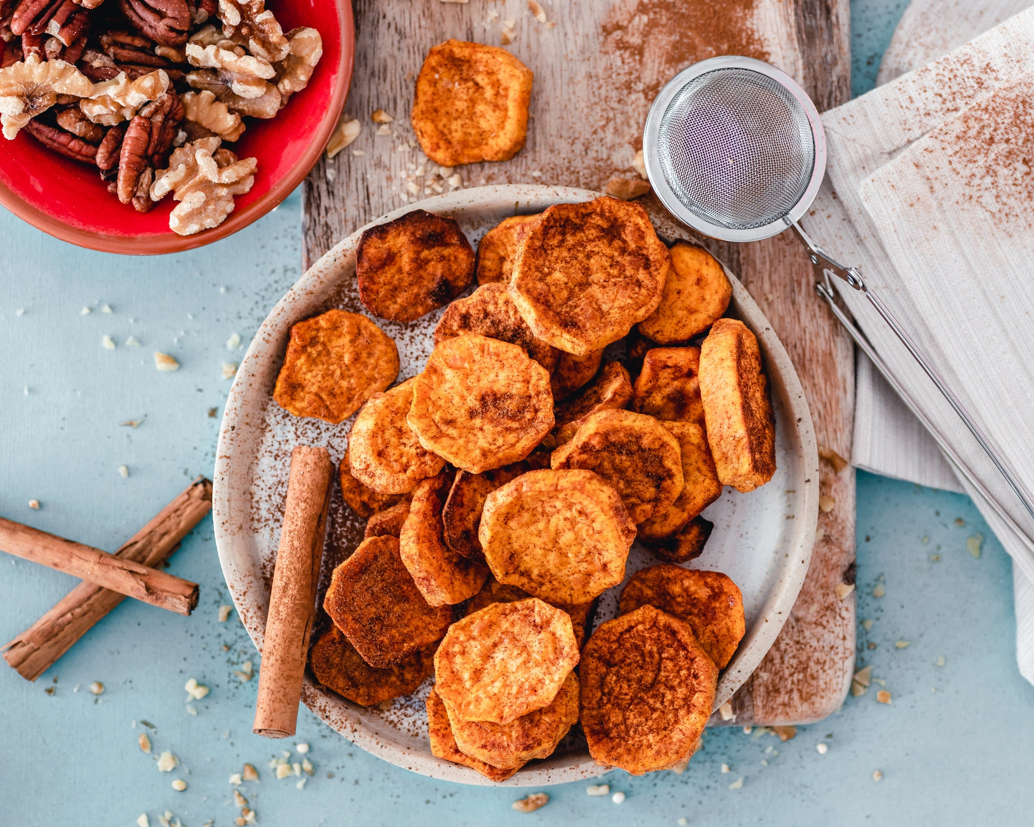 Sweet potato slices in a bowl
