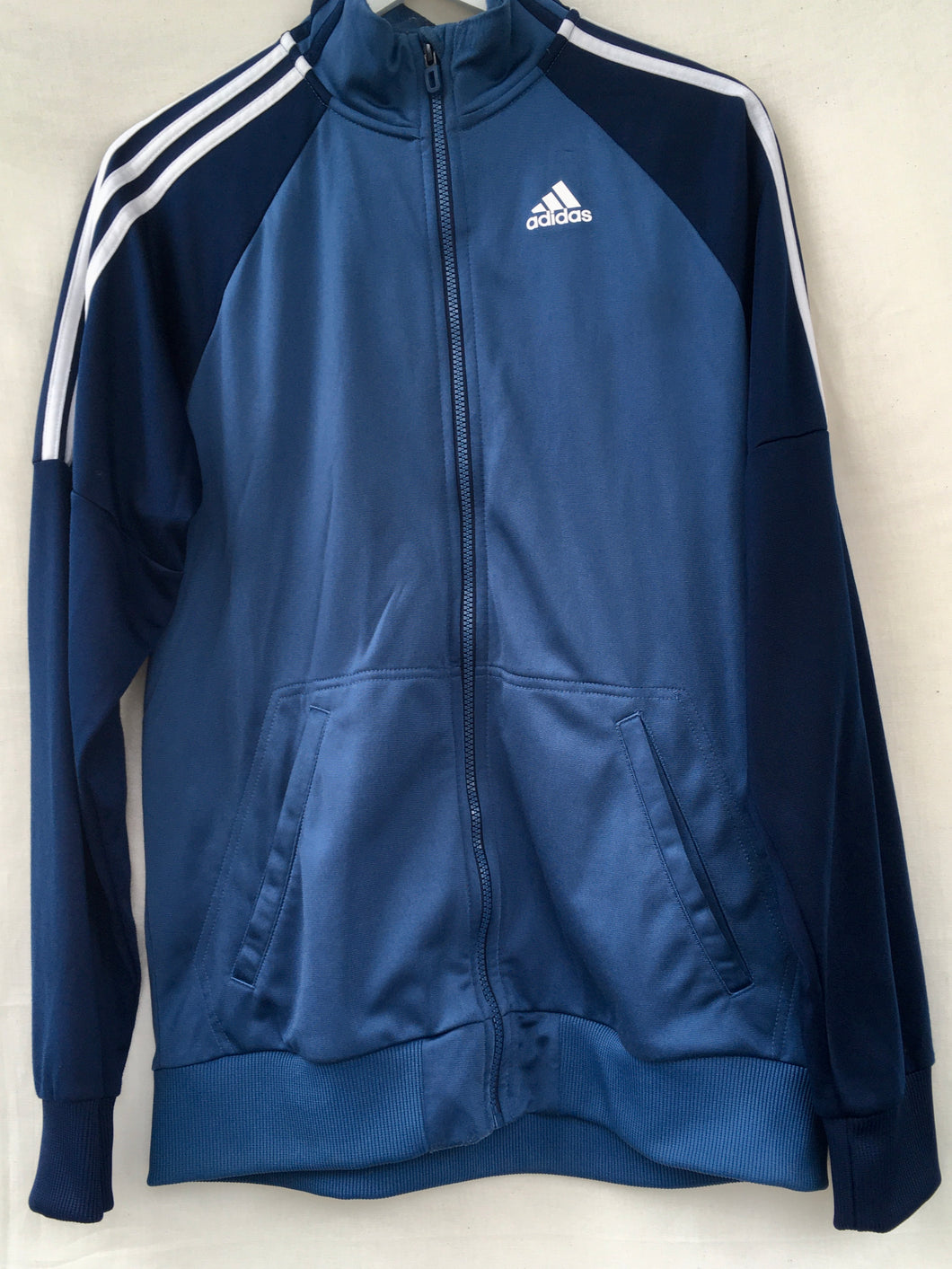 Blue/white Adidas track jacket