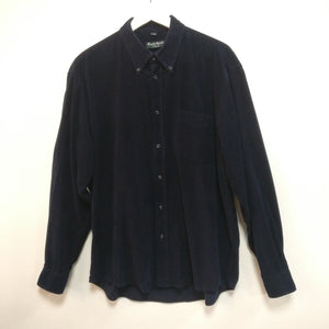 Navy blue vintage 1990s needlecord cord shirt L