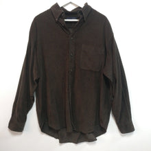 Load image into Gallery viewer, Dark chocolate brown needlecord shirt 1990s vintage L