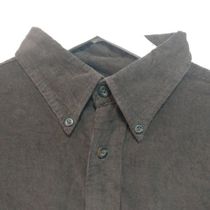 Dark chocolate brown needlecord shirt 1990s vintage L
