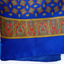 Load image into Gallery viewer, Light vintage 1960s blue patterned scarf