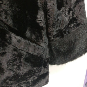 Vintage 1950s or early 1960s glamorous mod black faux fur jacket S