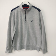 Load image into Gallery viewer, Nautica quarter zip grey spell out sweatshirt M