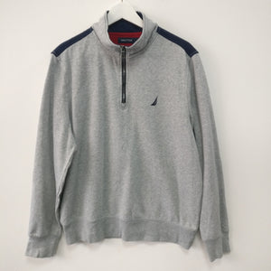 Nautica quarter zip grey spell out sweatshirt M