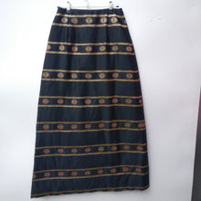 Load image into Gallery viewer, 1970s gold satin brocade vintage evening skirt S