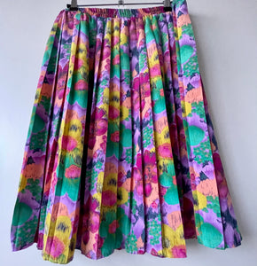 Pastel flower pleated vintage short skirt M/L