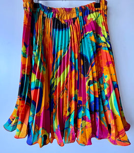 Bright and breezy short pleated vintage skirt M/L