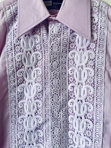 Lilac 1960s 70s vintage dress shirt with lace front by Lloyds menswear S/M