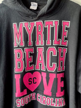 Load image into Gallery viewer, Black and pink Myrtle Beach Love hoodie XL