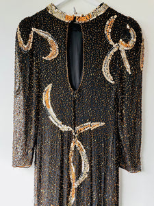 Stunning black/brown and gold long bead and sequin silk 1980s dress XS/S