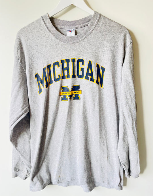 Michigan long sleeve grey college top M/L