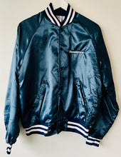 Load image into Gallery viewer, Blue satin baseball style bomber jacket M
