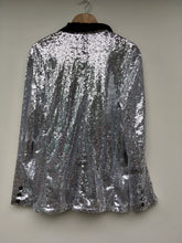 Load image into Gallery viewer, Silver sequin smoking jacket L