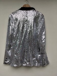 Silver sequin smoking jacket L